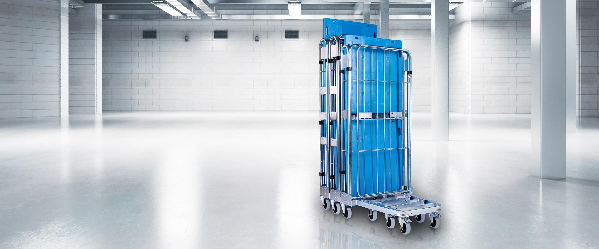 Nestbarer Rollbehälter mit Kunststoffboden